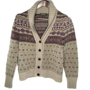 Eddie Bauer Women's Wool Fisherman Cardigan Size M